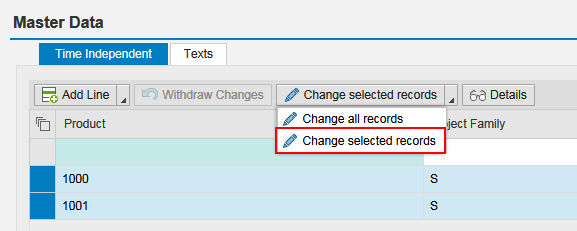 change selected records