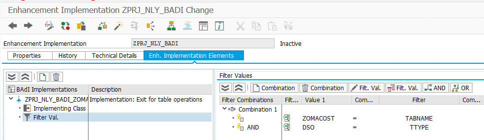 Filter values for the BAdI implementation
