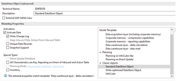 Standard DataStore Object