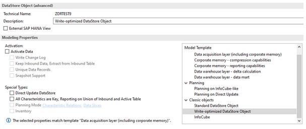 Write-optimized DataStore Object