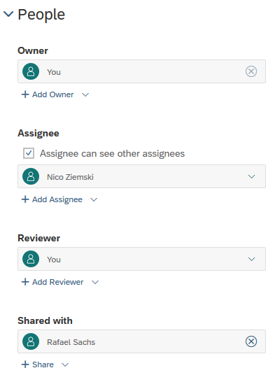 Define owner and assignees