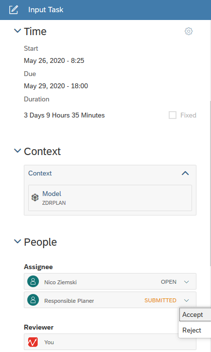 Input task overview in calendar