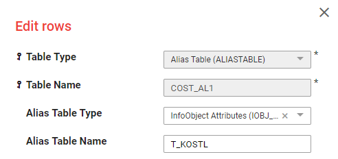 Alias Table 1 setup