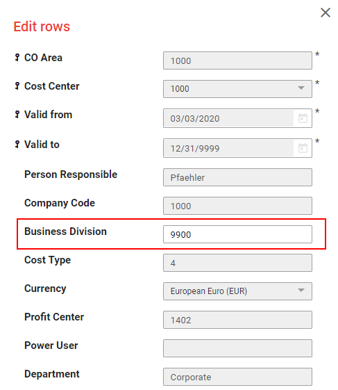 Only Business Division editable