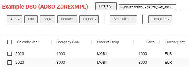 Only authorized company codes are displayed
