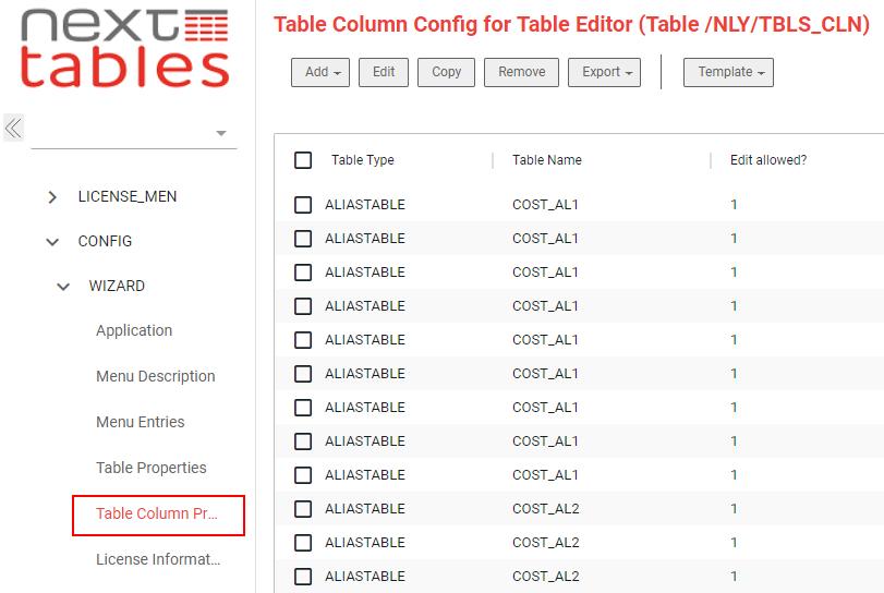 Table column properties