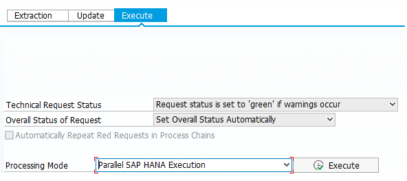 Processing Mode Parallel SAP HANA Execution