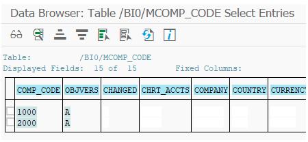 Master data table company code