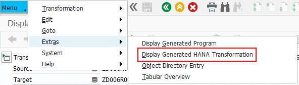 Display generated HANA transformation