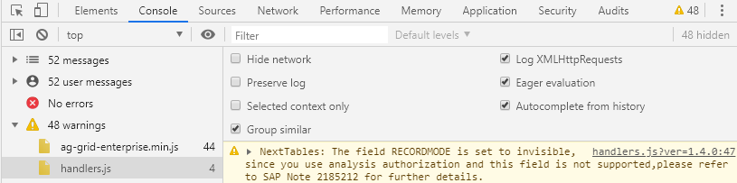 Console messages are displayed in developer tools of the browser