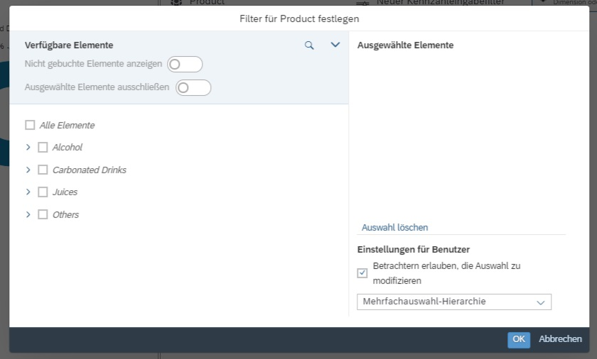 Seitenfilter Dialogfenster