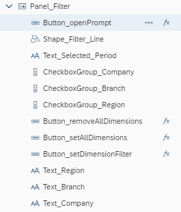 SAP Analytics Cloud Analytics Designer Filter Panel Components