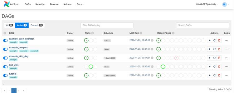 Screenshot of the main menu in Apache Airflow 2.0